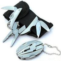 katlanmış anahtarlar toptan satış-Çok Fonksiyonlu Aracı Pense Anahtarlık Açık Spor Taşınabilir Mini Multitool Alet Kaplumbağa Şekil Katlanır Maşa Anahtarlık LJJZ482