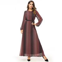 ingrosso abiti maxi marroni-Maxi abito lungo Elegante Vintage Stripes stampato Swing Dress Chiffon manica lunga Casual abiti musulmani Brown Spring 2019