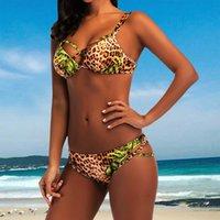 ingrosso set di bikini da stampa di leopardo-Bikini 2019 Moda di alta qualità Sexy Wear Beach Costumi da bagno Leopard Print Bikini Set Costumi da bagno Cover up Rilascio di Biquini