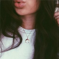 Wholesale sexy girl pendants resale online - Fashion Pendant Necklace Moon Ox horn pendant Silver gold color plated with metal O chain for women girls sexy gift