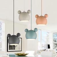 ingrosso luci di ferro rosa-220v 110v moderno Nordic Designer rotondo ferro rosa bianco appeso lampada a sospensione luce per arredamento loft cucina sala da pranzo per bambini