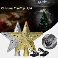 освещенный рождественский цилиндр оптовых-3D Christmas Tree Topper Light Hollow Star игристые звезда с Вращающийся Снежинка проекции света для рождественской елки орнамент