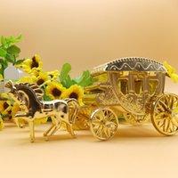 caramelo de oro real al por mayor-15 PCS / lot del partido del acontecimiento para el caramelo pequeña caja de regalo de plástico Cinderella carro real Gold Box boda suministra la decoración