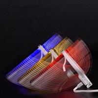luces de belleza led azul rojo al por mayor-Equipo de Belleza LED Instrumento Portátil Rejuvenecimiento Doméstico Rojo Azul Amarillo luz hogar Multifunción belleza transparente Máscara FFA2034