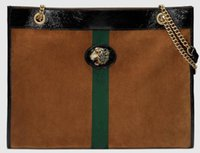 Wholesale tiger leather bags resale online - 5A cm Rajah Large Tote Enameled tiger head Suede Leather with Web Leather Trim With Dust Bag Serial Number