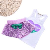 kelebek set şortu toptan satış-Çocuklar Kız Giyim Setleri Aşk Balık Terazi Mektup Baskı Suit Kelebek Yuvarlak Boyun Kolsuz Kısa Pantolon 24