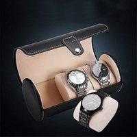 ingrosso mans porta orologi-Contenitore di vigilanza per gli uomini 3 griglie Cilindro Rullo Holder polso regalo gioielli contenitore di caso di esposizione di fascia alta unità di elaborazione di vigilanza di
