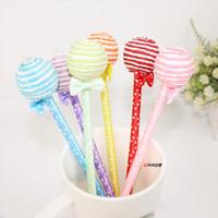 ingrosso premi per la scuola per gli studenti-36 PCS Corea cancelleria regalo creativo Bella palla lecca-lecca candy pen bowknot studenti penna a sfera premi