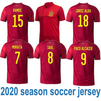 Wholesale iniesta soccer jersey for sale - Group buy Spain Euro Soccer jersey INIESTA RAMOS home red away white FABREGAS COSTA SILVA ISCO VAXI top quality spain football shirt