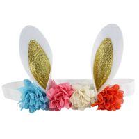ingrosso braccialetto dell'orecchio del coniglietto all'ingrosso-Boutique all'ingrosso 10pcs orecchino di coniglio di scintillio sveglio fasce solido coniglietto floreale fasce per capelli morbide Pasqua accessori per capelli moda capelli