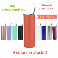 Wholesale stock drinking straw for sale - Group buy FEDEX oz stainless steel skinny tumbler with steel straw oz skinny cup drinkintg tumblers vacuum insulated water cup free straw