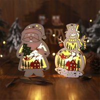 Wholesale star shaped christmas led lights for sale - Group buy Christmas Tree Wooden Glowing Ornament Star Round Shape LED Light Decoration Luminous Santa Snowman Deer Table Ornament Decor