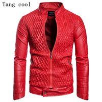 ingrosso camicia a maniche in pelle rossa-Tang cool 2019 Plus Size XXL Giacca in finta pelle Office Skull Red Manica lunga collo colletto Slim giacca casual PU
