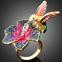 24k gold diamant ringe groihandel-Eheringe Für Frauen 24 Karat Vergoldet Wunderschön Legierung Ring Blume Und Vogel Design Mode Diamant-verlobungsringe