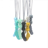 Wholesale silicone teething jewelry for sale - Group buy 1Pcs Silicone Beads Teething Necklace Food Grade Mom Jewelry For Baby Teething Chewable Feather Pendant Baby Teether