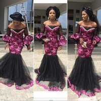 Wholesale red prom dresses for sale - Aso Ebi Off Shoulder Prom Dresses Back And Fuchsia Lace Mermaid Evening Gowns South African Trumpet Sleeves Tulle Floor Length Women dress