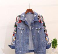 ağır bayanlar toptan satış-İlkbahar Sonbahar Kadın Jeans Ceket Coat Yeni Ağır Stereo İşlemeli pullar Çiçek Denim ceketler Öğrenci Temel