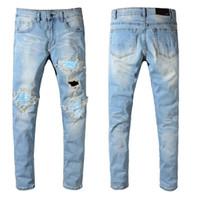 Wholesale jeans online - Amiri Ripped Jeans Mens Slim Fit Motorcycle Biker Denim Jeans Hip Hop Designer Pants Amiri Designer Jeans