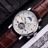 relojes suizos de cuero al por mayor-Reloj suizo de moda Reloj de cuero Tourbillon Reloj de pulsera automático para hombres Relojes mecánicos de acero Reloj masculino Relogio
