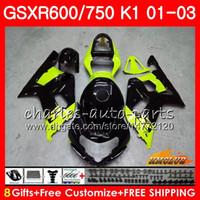 kits de cuerpo caliente al por mayor-8Gifts verde negro caliente del cuerpo para SUZUKI GSXR750 GSXR 600 750 01 02 03 GSXR600 4HC.45 GSXR600 K1 GSX R750 GSXR750 2001 2002 2003 carenado kit