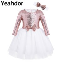 Wholesale 12 months dresses resale online - Girls Mesh Sequined Long Sleeves Flower Girl Dress For Wedding Pageant Birthday Party Princess Dress with Headband Months