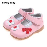 Wholesale children sneaker flower resale online - Genuine Leather Children Shoes New Flower Girls Princess Shoes Sports Fashion Sneakers for Kids Soft Sole Leather