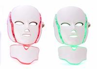 ingrosso le macchine a microcorrente illuminano-Maschera di collo facciale della macchina LED di bellezza del fronte di terapia della luce di PDT 7 LED con microcorrente per il dispositivo di sbiancamento della pelle DHL libera la spedizione