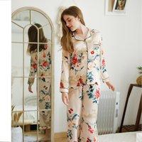 damen pyjama homewear großhandel-Damen Pfingstrose Floral Gown Pyjama Top + Pants Set Damen Home Wear Frühling und Sommer chinesischen Stil Vintage Kran zum Schlafen