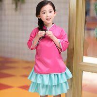 traje chino para niñas niños al por mayor-Venta al por menor trajes para niños niña traje de estilo chino vestido trajes de verano de dos piezas (top + tutu falda) bebé chándal ropa de diseñador para niños
