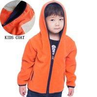 ingrosso giacca con cappuccio in pile per ragazzi-Autunno Inverno Kids Top Ragazzi Outdoor Zip Hoodie Giacche Neonate Vestiti Bambini Polar Fleece manica lunga giacca Cappotti