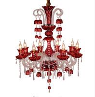 Wholesale touch bell online - Led Art Deco Colored Cafe Lights Lighting Chandelier For Dining Room Pendant Red Blue Bell lampe Crystal Chandelier E14 Lustre LLFA