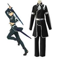 Wholesale Sword Art Online Alicization Cosplay Kazuto Kirigaya Costume Kirito Black Battle Suit Full Set