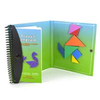 child educational books toptan satış-150 240 Bulmacalar Manyetik Matematik Tangram Oyuncaklar Çocuk Çocuk Hediye Meydan Iq Eğitici Sihirli Kitap Q190530