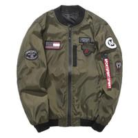 bahar ceketi bombacı erkekleri toptan satış-Marka Yeni NASA Erkek MA1 Bombacı Ceket Insignia USAF Kanye West Hip Hop Spor Erkek Rüzgarlık Ceket Bayrak Erkek Bahar Ince kesit Ceket JK