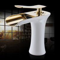 antik pirinç banyo muslukları toptan satış-Havza Musluklar Şelale Banyo Musluk Tek Havzası Mikser dokunun Banyo Antik Musluk Pirinç Lavabo Su Vinç Gümüş 6009 işlemek