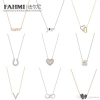 Wholesale clover shaped necklaces resale online - FAHMI SWA High Quality Rose Gold Four leaf clover Heart Shaped Butterfly Interwoven Ribbon Love Fashion Women Clavicle Necklace BETTER