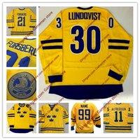 oro veloz al por mayor-Personalizado Henrik Lundqvist Team Sweden 19 Backstrom Carl Soderberg Gabriel Landeskog 2010 Swift Gold Blue Barato al por mayor Camisetas de hockey sobre hielo