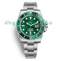 movimientos para relojes al por mayor-De lujo bisel de cerámica para hombre relojes mecánicos de acero inoxidable movimiento automático verde reloj deportivo auto-viento relojes 5ATM impermeable Wristwa