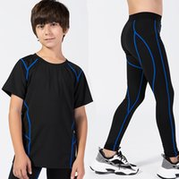 Wholesale child black tracksuit white resale online - 2 Boys Sportswear Gym Suits Children Clothing Sets For Boys Tracksuits Teenage Training Compression Running Jogging Suit Gym