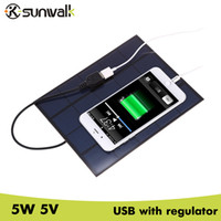 Wholesale 5v solar panel charger resale online - cell SUNWALK W V Panel Charger USB Output mA Monocrystalline Silicon Solar Charger V for Power Bank Cell Phone