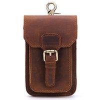 Wholesale men leather waist hip bag for sale - Group buy Genuine Leather Vintage Packs Men Travel Fanny Pack Belt Loops Hip Bum Waist Bag Mobile Phone Pouch