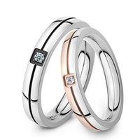 nuevo amor romántico anillos al por mayor-El nuevo anillo clásico de acero inoxidable 316L anillo de pareja de cristal brillante de Forever Love For Romantic Wedding