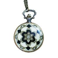 hängende uhr halskette kristall großhandel-Europäische und amerikanische Gericht Retro-Diamanten Damen Muster Kristall Anhänger Halskette Taschenuhr