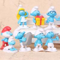 ingrosso regalo puffi-12pcs / set mini fumetto del Anime L'azione di Smurfs PVC Figure Giocattoli Bambole LES SCHTROUMPFS Bambino regali dei giocattoli