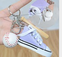 Wholesale keychain pieces for sale - Group buy Mini three pieces baseball keychain Baseball bag pendant men and women Headphone bag gift pendant car key chain accessories