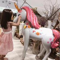 balon diy toptan satış-Unicorn Parti Folyo Balonlar büyük boy DIY Unicorn folyo Balon Doğum Günü Parti Malzemeleri Unicorn Tema Parti çocuk oyuncak Dekor LJJK1685