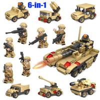 vehículos militares tanque al por mayor-6 en 1 Ejército de tanques Vehículos militares Armas Soldados Brinquedo Menina Juguetes para niños