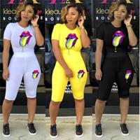 Wholesale lips clothes resale online - Women Summer Tracksuit Two piece Set Clothes Color Lips Printed Short Sleeved T Shirt Shorts Pants Sports Suit Fashion Sportswear C5802