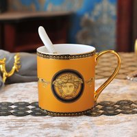 Wholesale ceramics for decorations resale online - Europe Luxury Ceramic Cup With Spoon Gold Kitchen Home Decorations Porcelain Travel Mug Coffee Lover Unique Gift For Her Him