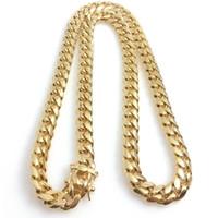 en kaliteli altın kaplama zincirler toptan satış-18 K Altın Kaplama Kolye En Kaliteli Miami Küba Bağlantı Kolye Erkekler Punk Curb Ejderha-Sakal Toka Zincir Kolye 10 12 14mm
